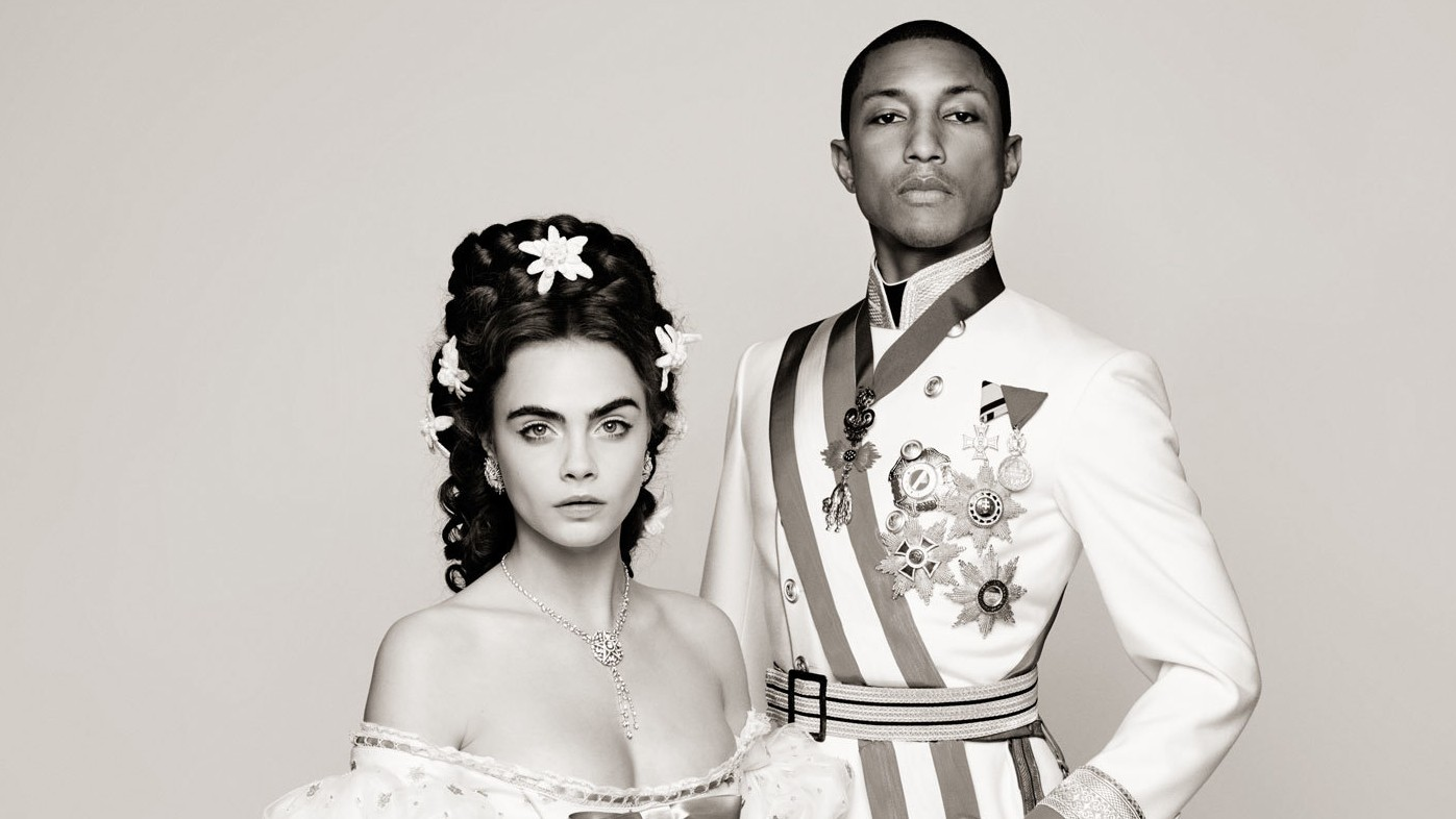 cara delevingne and pharrell williams sing sweetly in new chanel short