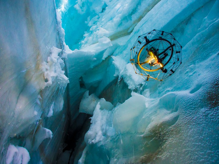 Watch This Search and Rescue Drone Navigate a Glacier Crevasse
