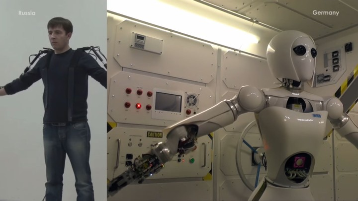 Meet Aila, the German Robot Controlled From Russia With an Exoskeleton