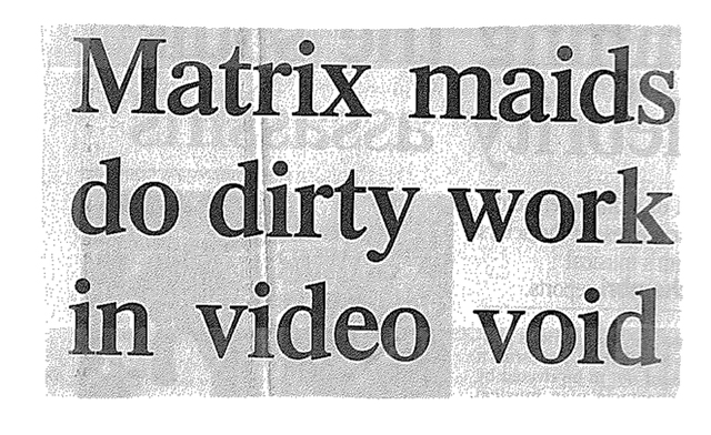 Headline from Australian newspaper The Age, about VNS Matrix, 1995.