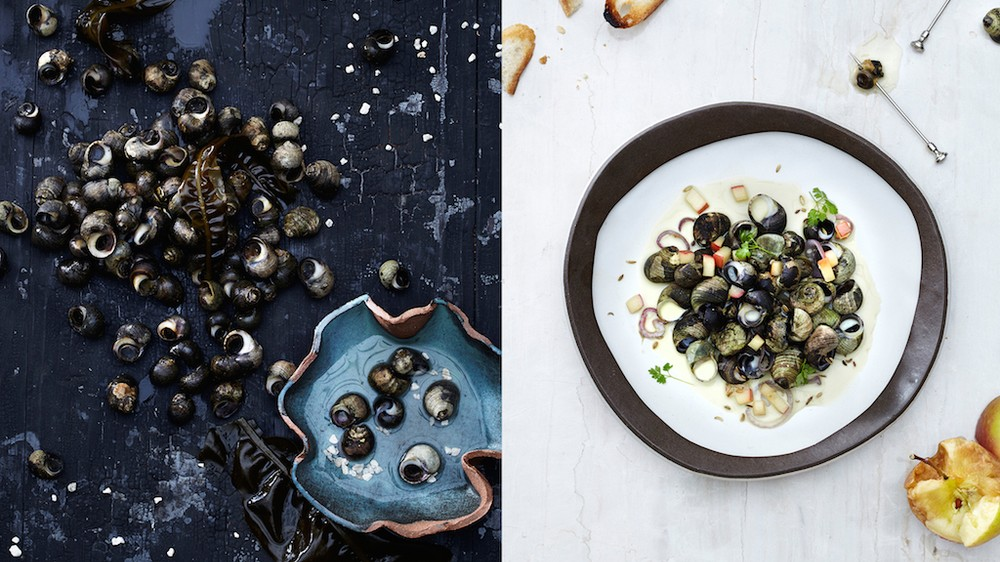 Steamed periwinkles in calvados cream broth.