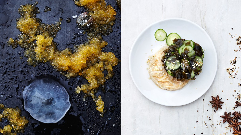 Peanut butter jellyfish, wakame, and salted cucumber salad
