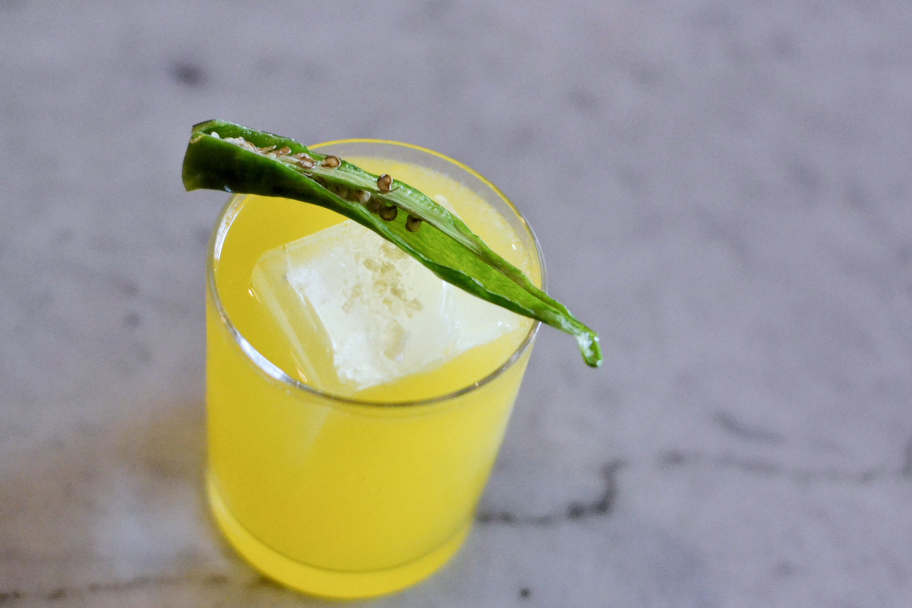 The #2 with yellow pepper, tequila, chartreuse, smoked salt, and chili bitters