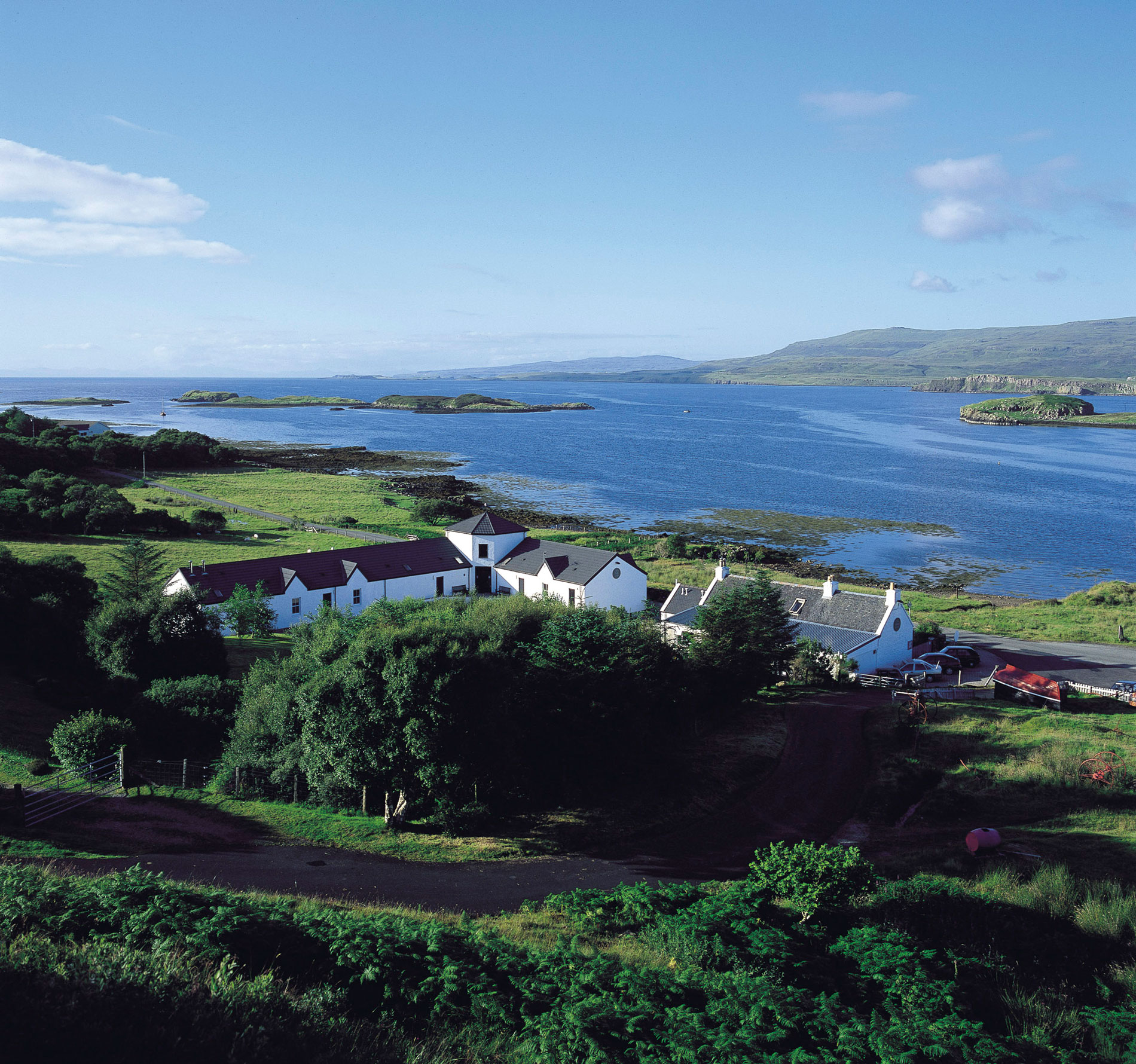 Looking over the roof of The Three Chimneys towards Loch Dunvegan. Photo courtesy The Three Chimneys