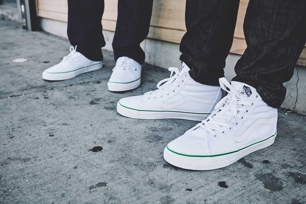 Vans Sk Hi Slim White Shoes On People