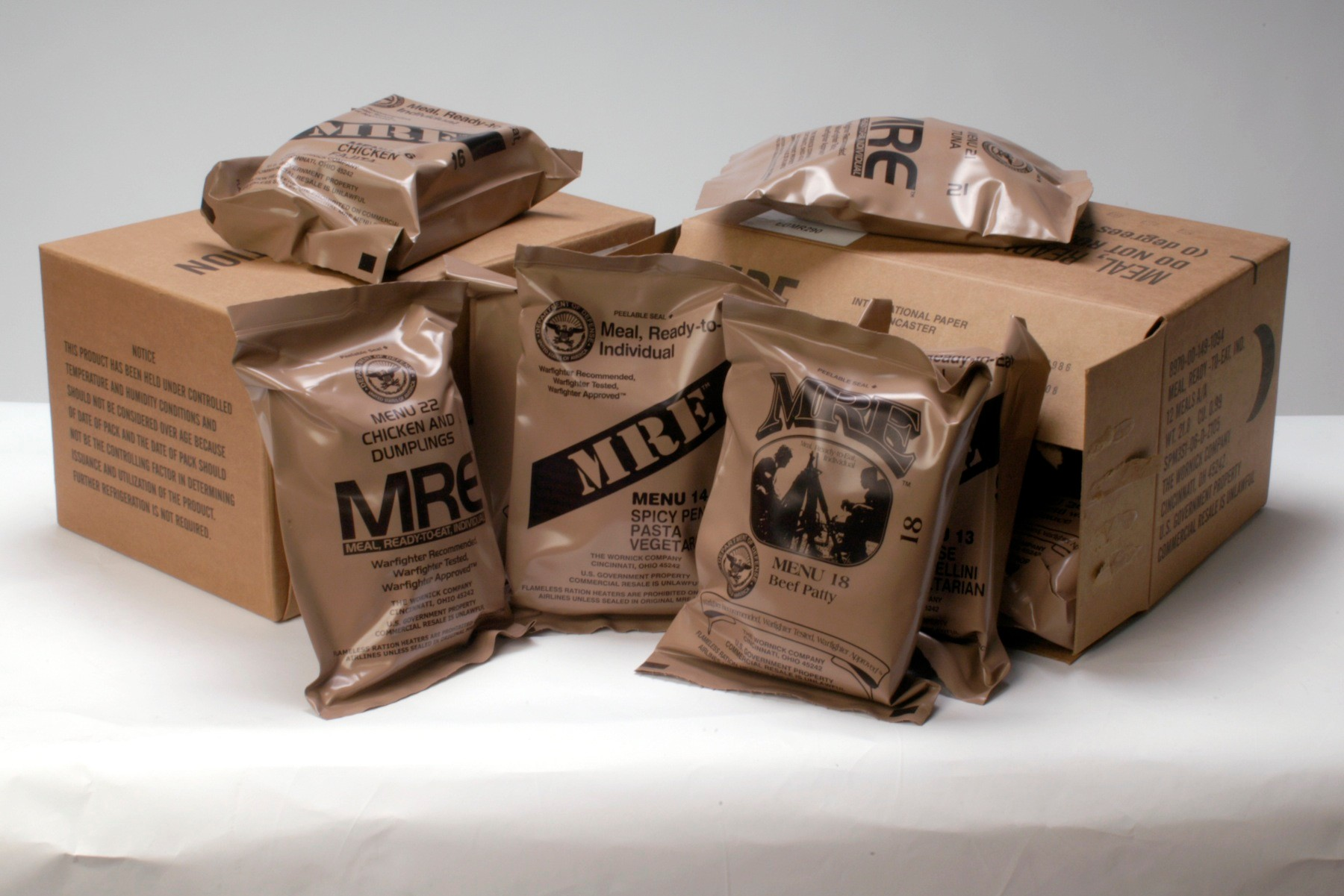 New MRE rations and meal bags