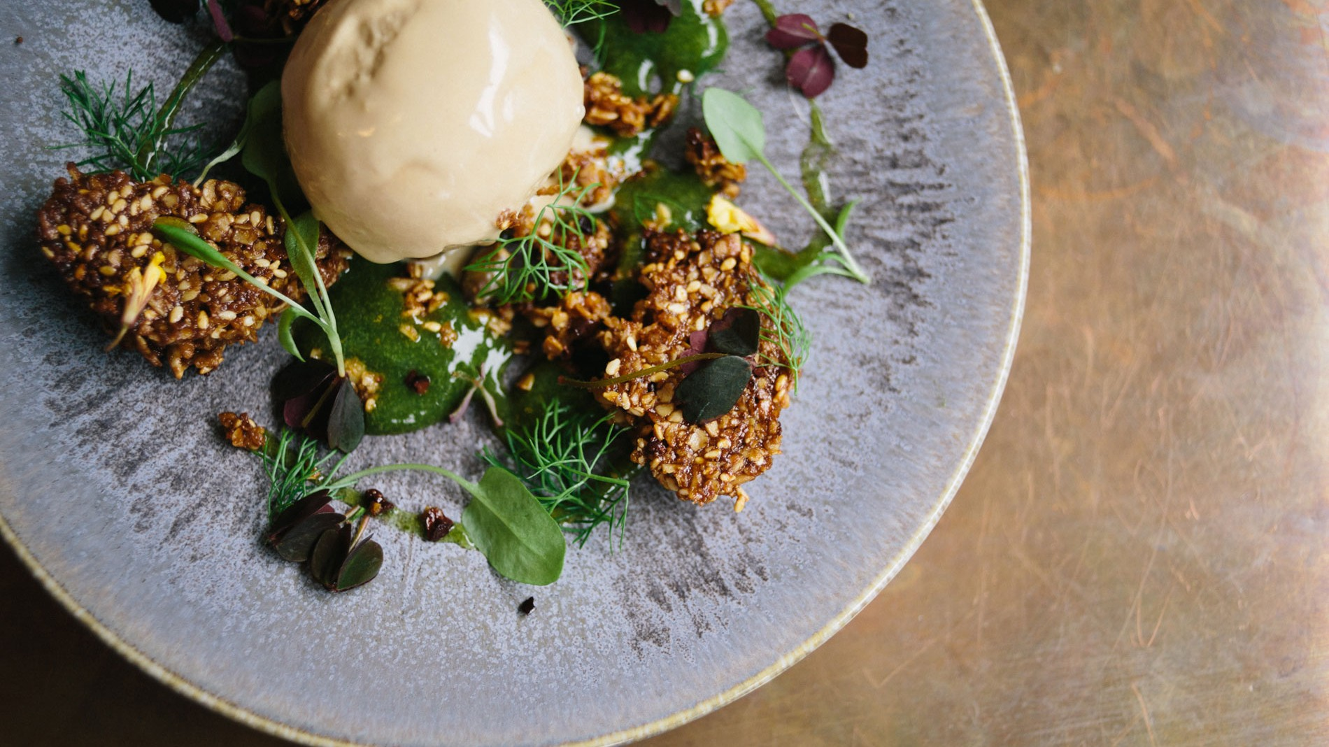 pidgin-Roasted-pumpkin-seed-and-cocoa-nib-flapjack-with-caramel-and-fennel-ice-cream-and-sorrel-apple-gel-2