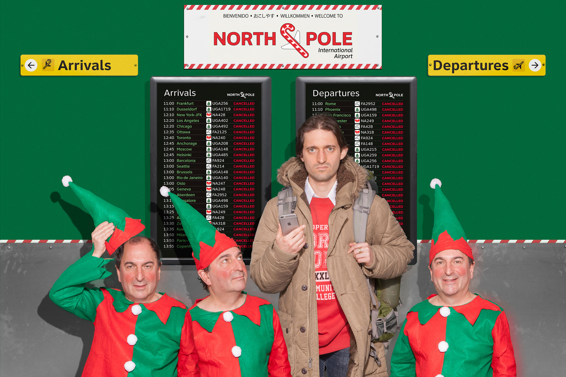 pissed-dude-in-airport-with-elves