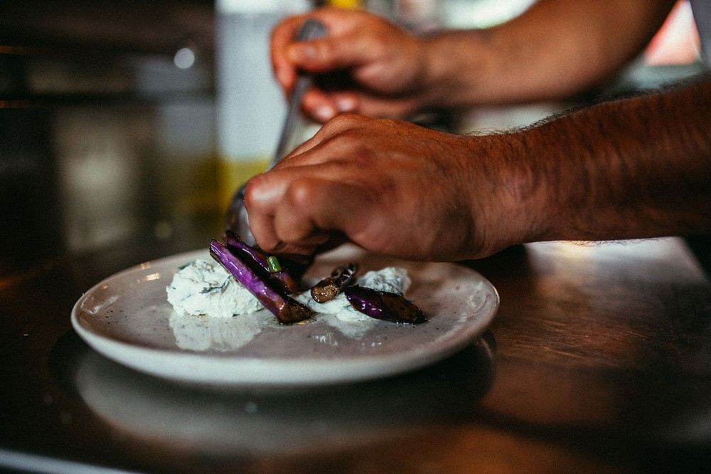 plating-of-eggplant-on-ricotta