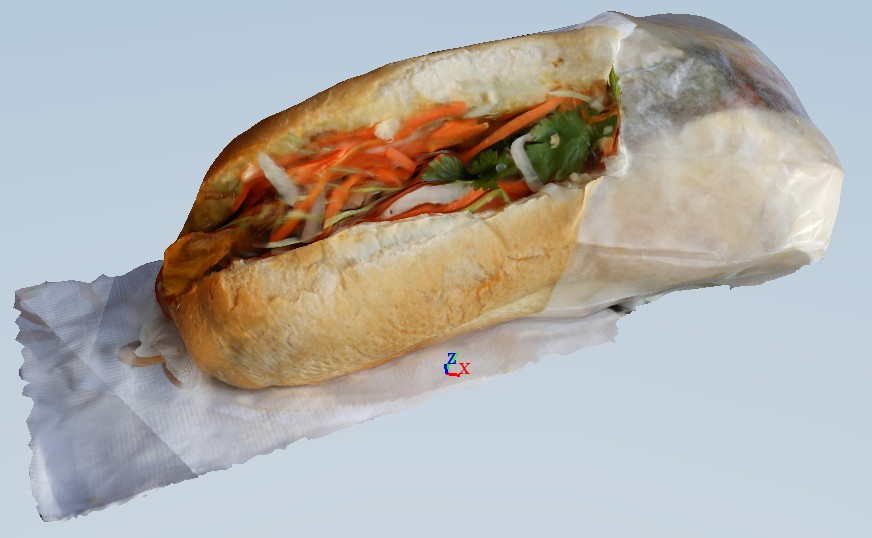 rough rendering of  3D banh mi, Myo Studios