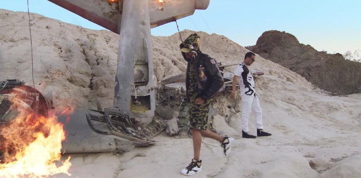 """French Montana, Chris Brown, and Migos Dance in Front of a Crashed Airplane in the """"Moses"""" Video"""