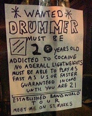 cocaine drummer wanted