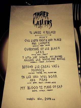 Noisey Black Metal Dinner 2014 Speisekarte