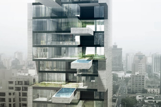 Horizontal Swimming Pools Jut Out Of This Sky-high Apartment Building