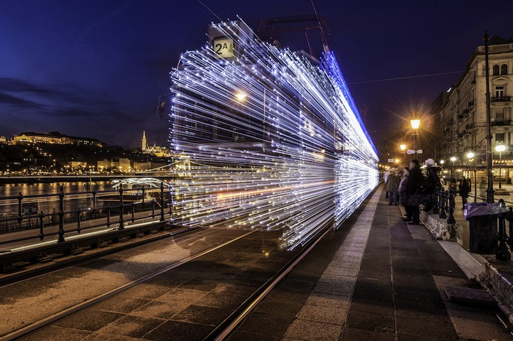 30,000 LEDs Transform Speeding Trains Into Electric Light Paintings