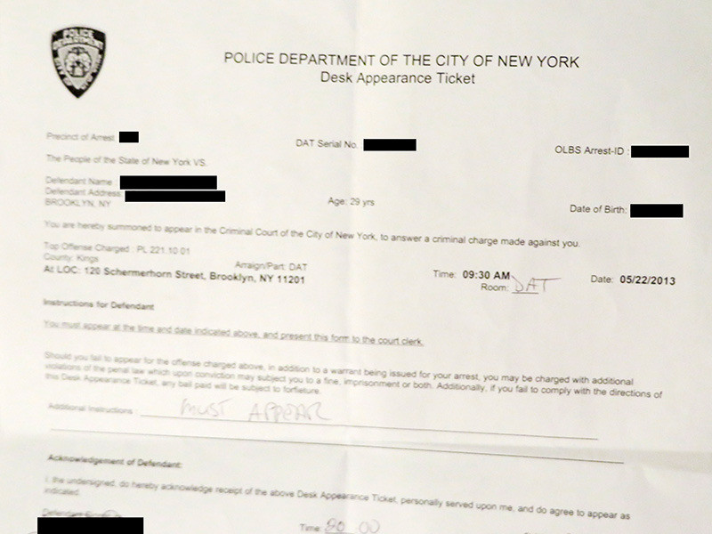 Getting Busted In New York